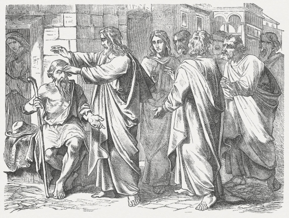 Jesus heals a man born blind (John 9), published 1877