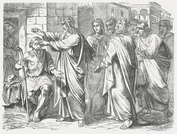 Jesus heals a man born blind (John 9), published 1877