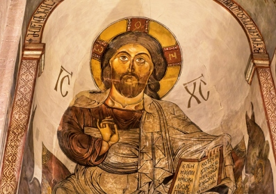 Jesus portrait on fresco of Svetitskhoveli Cathedral, from 4th century in Mtskheta, Georgia. UNESCO World Heritage Site.