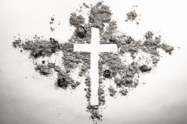 Ash wednesday cross, crucifix made of ash